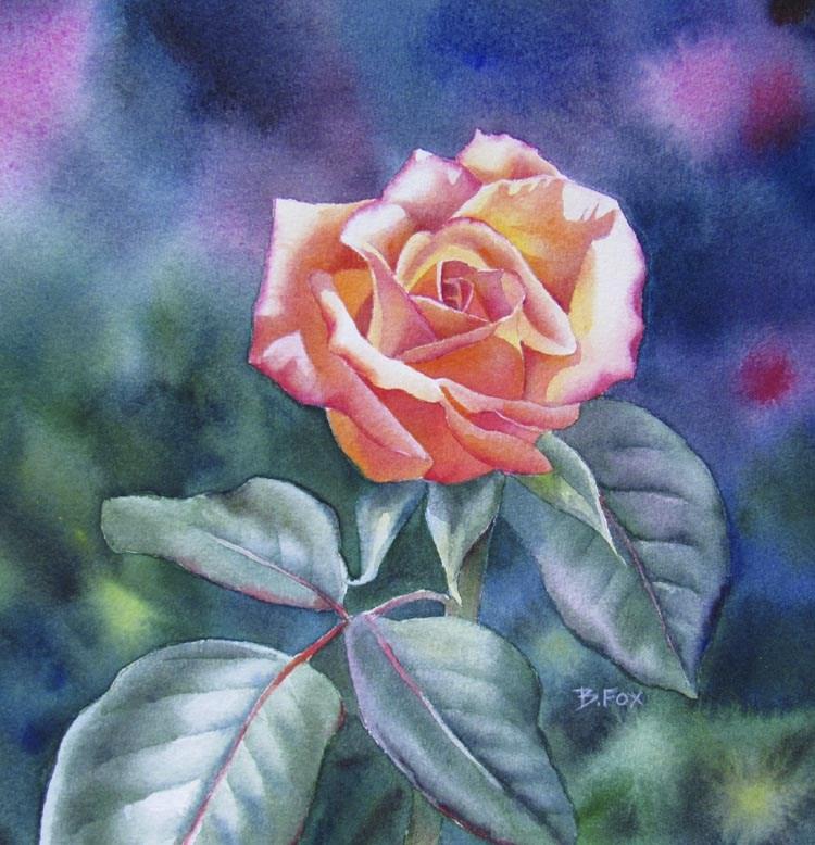 SUNNYSIDE ROSE (SOLD) rose floral  watercolor painting original fine art by Barbara Fox