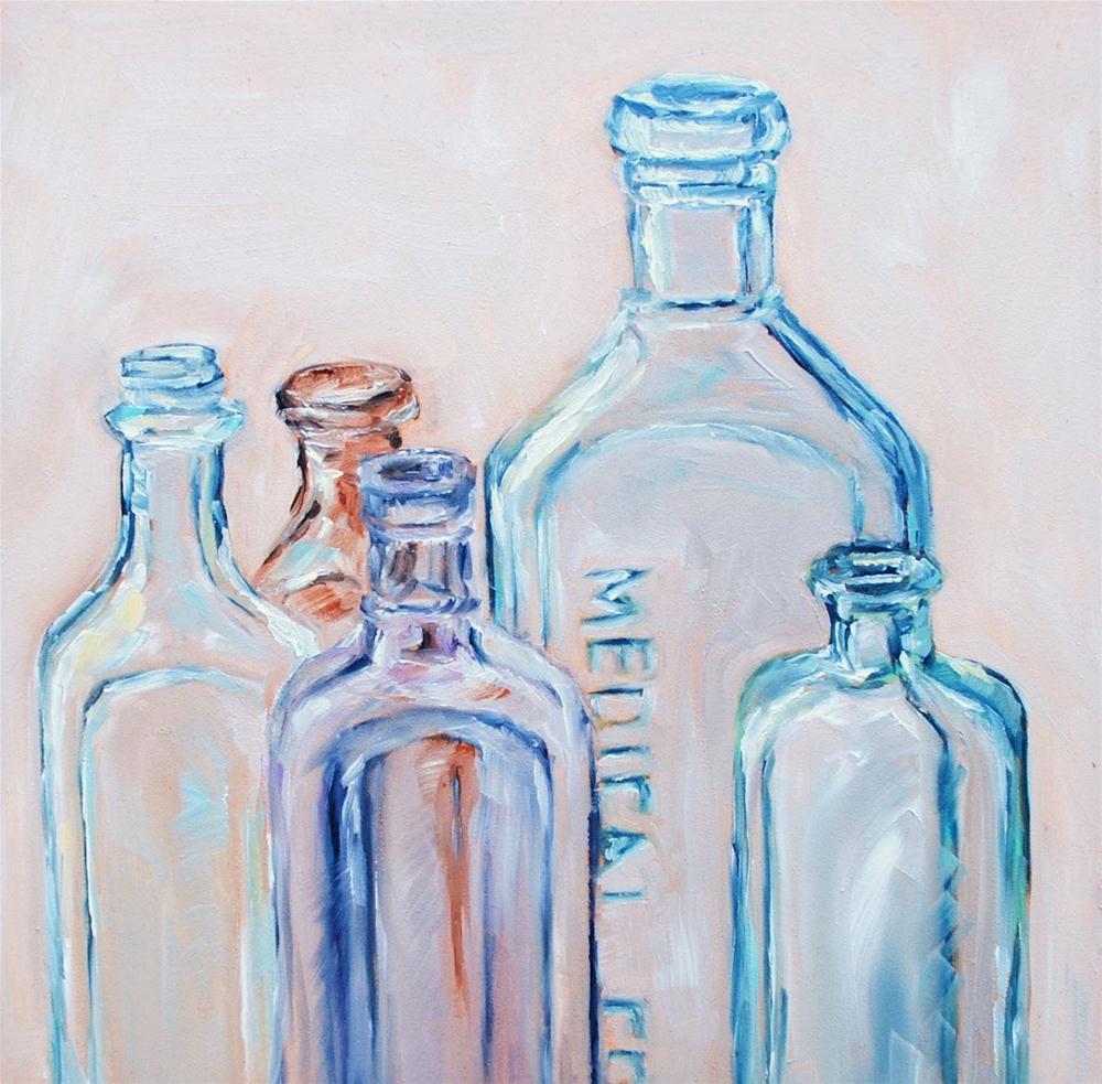 """Vintage Bottles 4"" original fine art by Alison Kolkebeck"