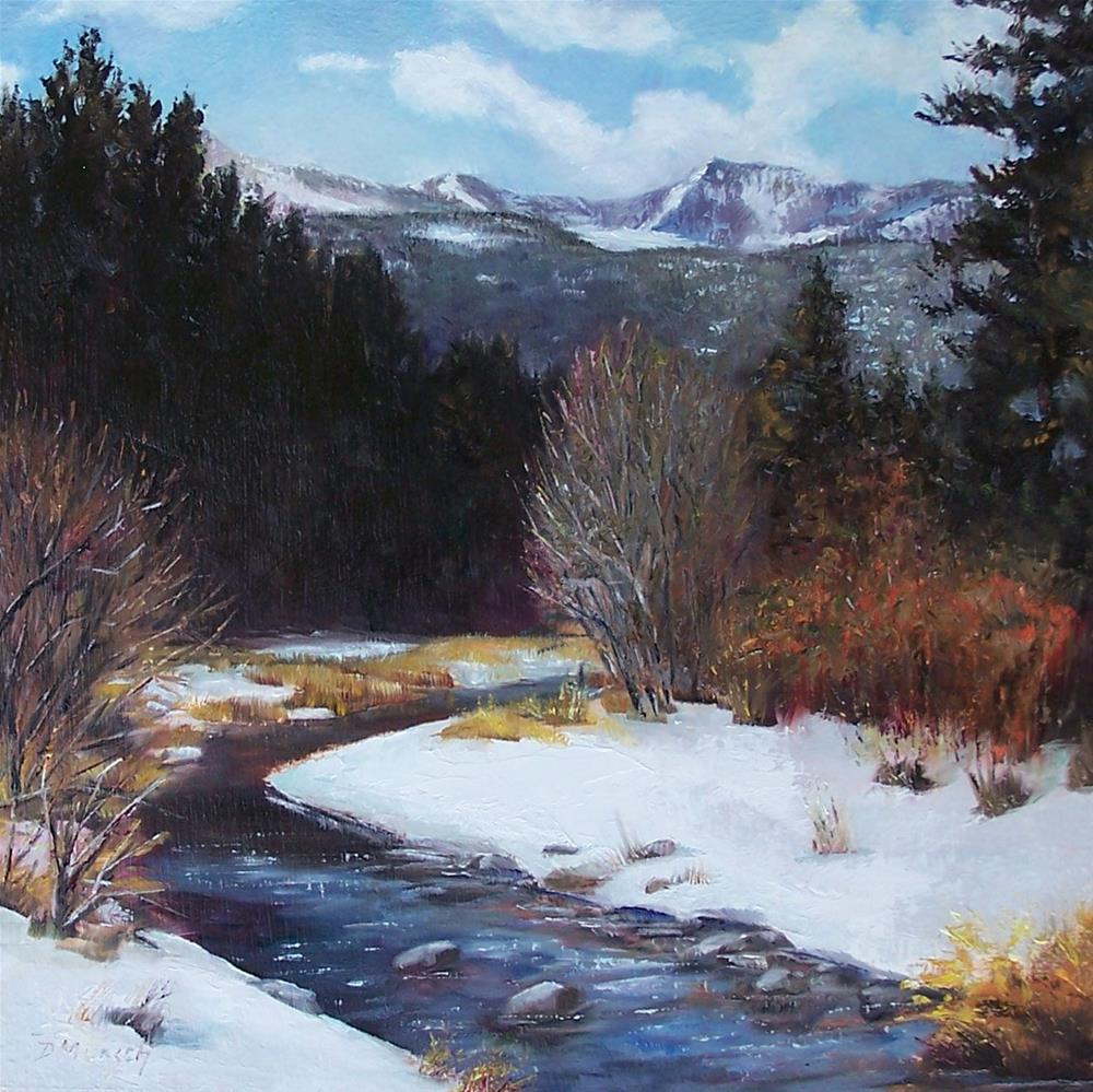 """Winter River Bend"" original fine art by Donna Munsch"