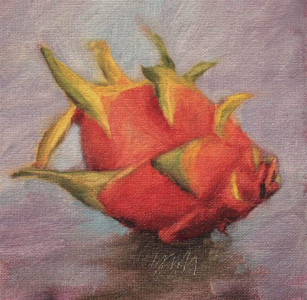 """dragonfruit"" original fine art by Yuehua He"