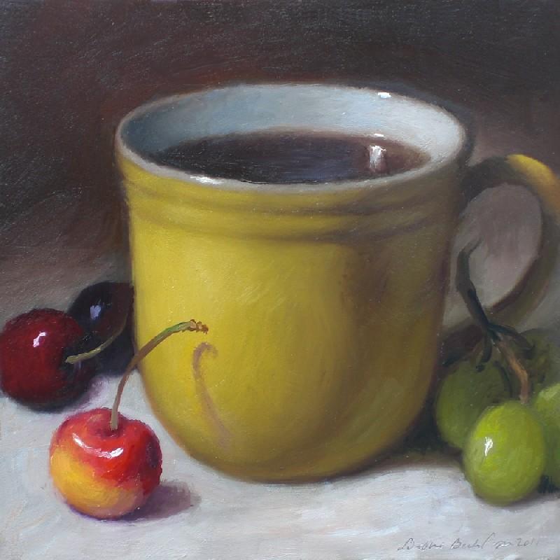 """Coffee Mug with Cherries"" original fine art by Debra Becks Cooper"