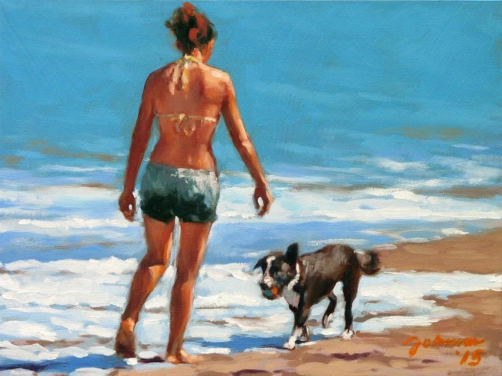 """Well Done -- Series Painting of Dogs & Owners on the Beach"" original fine art by Joanna Bingham"