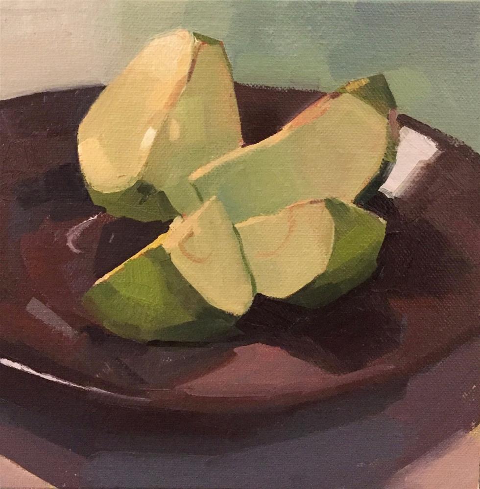 """Cut Apple - A One-Dollar Auction!"" original fine art by Sarah Sedwick"