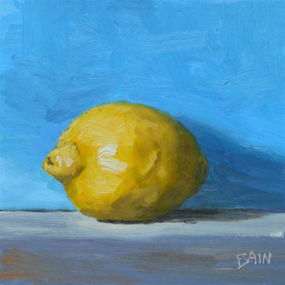 """Lone Lemon"" original fine art by Peter Bain"