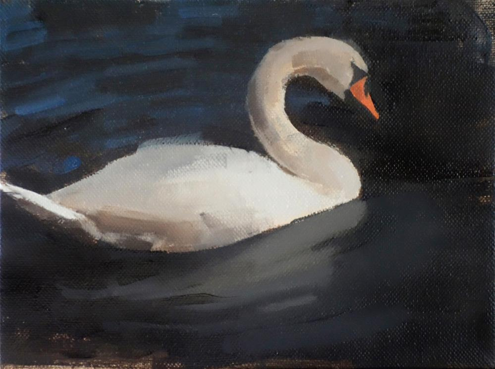 """Afternoon Swan, Lake Waban, Wellesley MA (no.128)"" original fine art by Michael William"