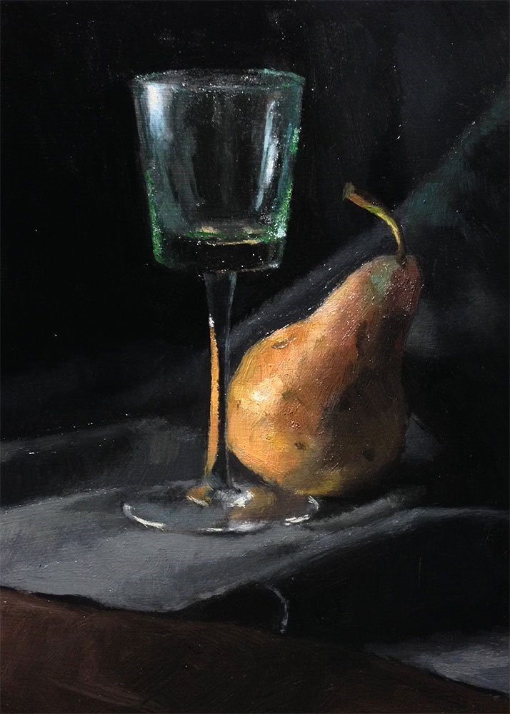 """""""Still Life With Yellow Pear"""" original fine art by Chris Beaven"""