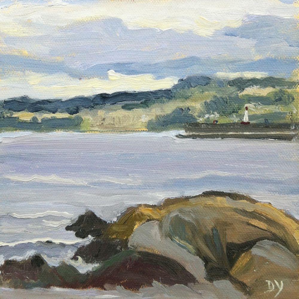 """Ogden point, oil on canvas board, 6x6"" original fine art by Darlene Young"