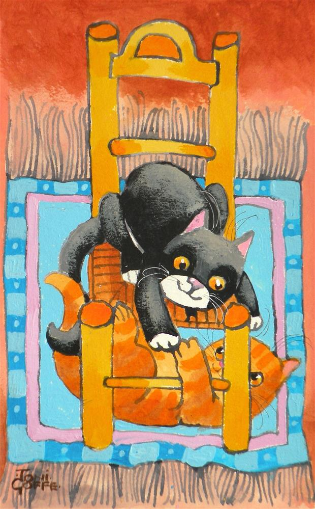 """Kitten Chase"" original fine art by Toni Goffe"