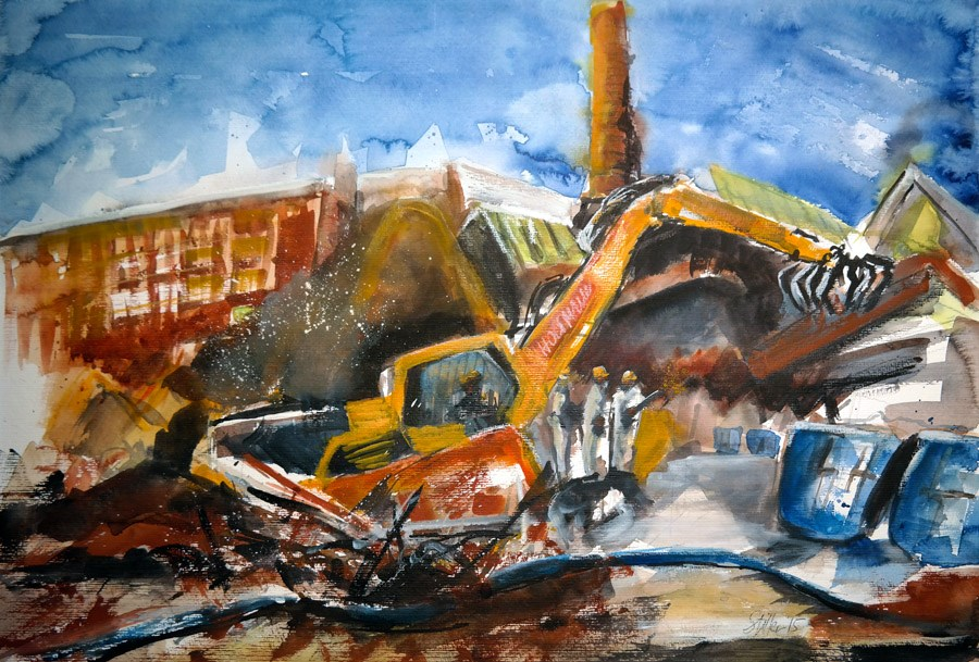 """1281 Demolition"" original fine art by Dietmar Stiller"