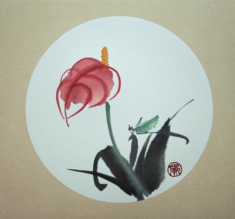 """Flamingo Flower"" original fine art by R kwong"