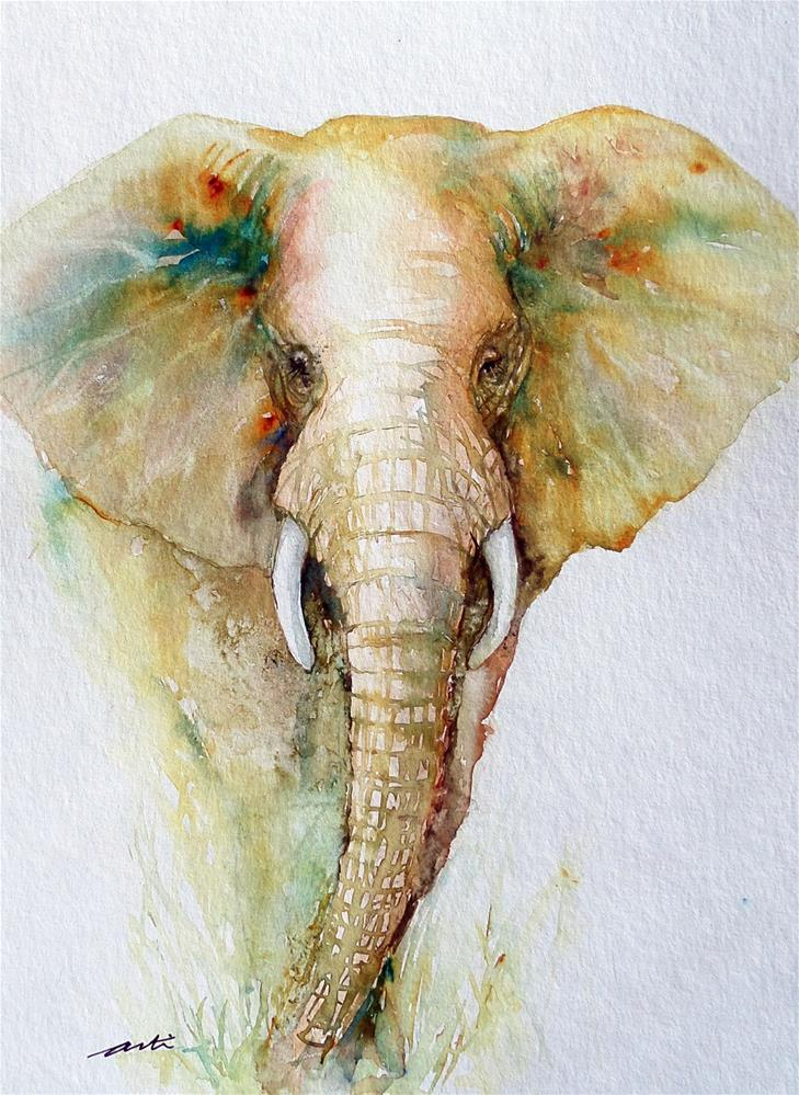 """Regal Gold Elephant"" original fine art by Arti Chauhan"