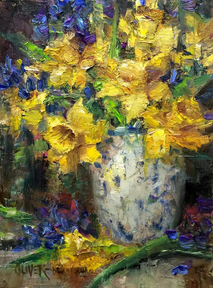 """Daffodils and Hyacinth  #3"" original fine art by Julie Ford Oliver"