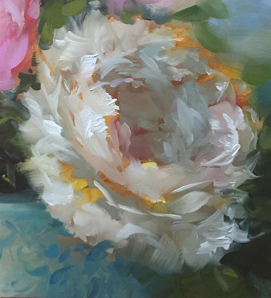 """Fall to Earth Peonies"" original fine art by Nancy Medina"