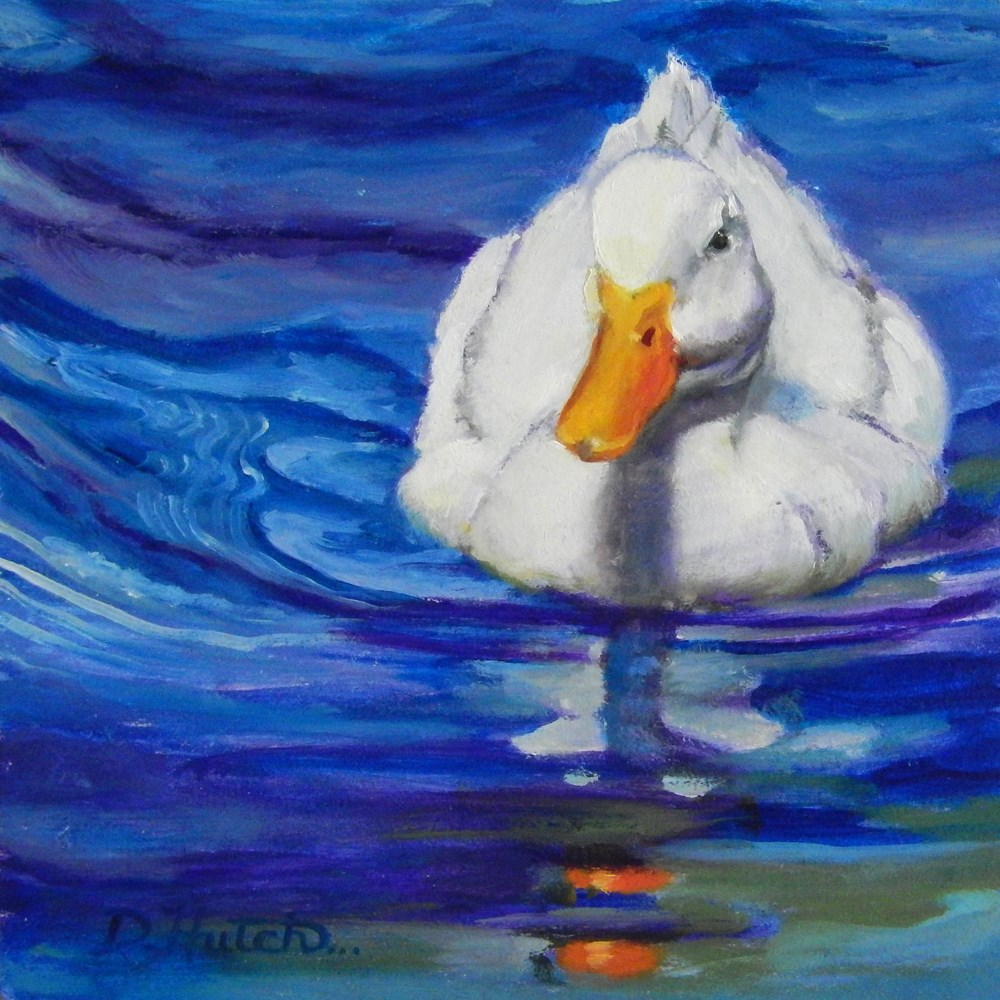 """White duck in blue water"" original fine art by Diane Hutchinson"