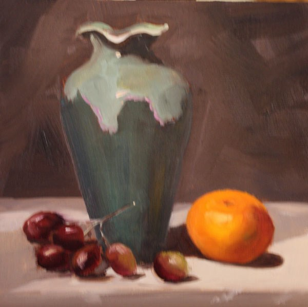"""Tangerine, Vase and Grapes"" original fine art by Jane Frederick"