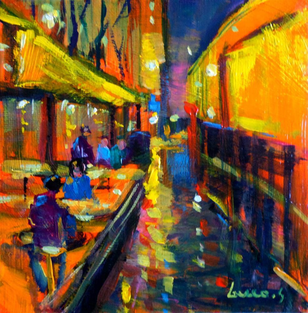 """Night café in paris"" original fine art by salvatore greco"