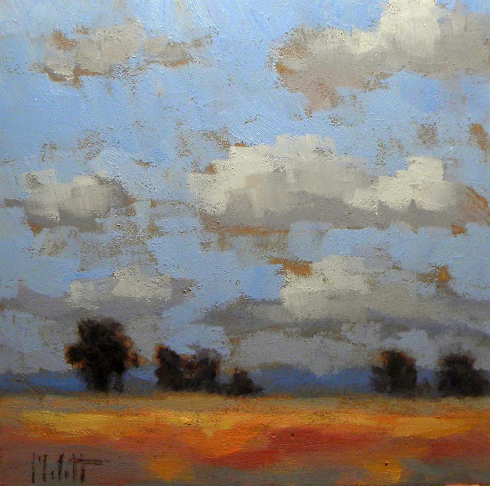 Impressionist Landscape Fields Clouds Oil Painting original fine art by Heidi Malott