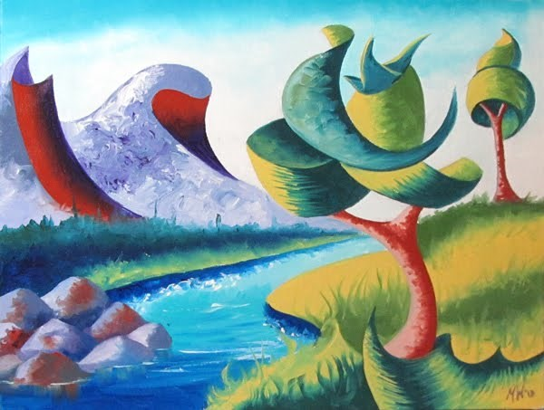 """Mark Webster - Abstract Landscape Oil Painting 2.11.13"" original fine art by Mark Webster"
