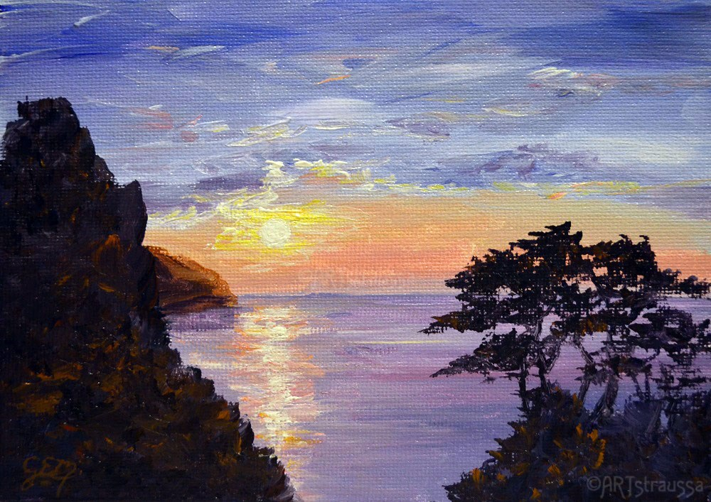 """Sunset Over Lynton"" original fine art by Gloria Ester"