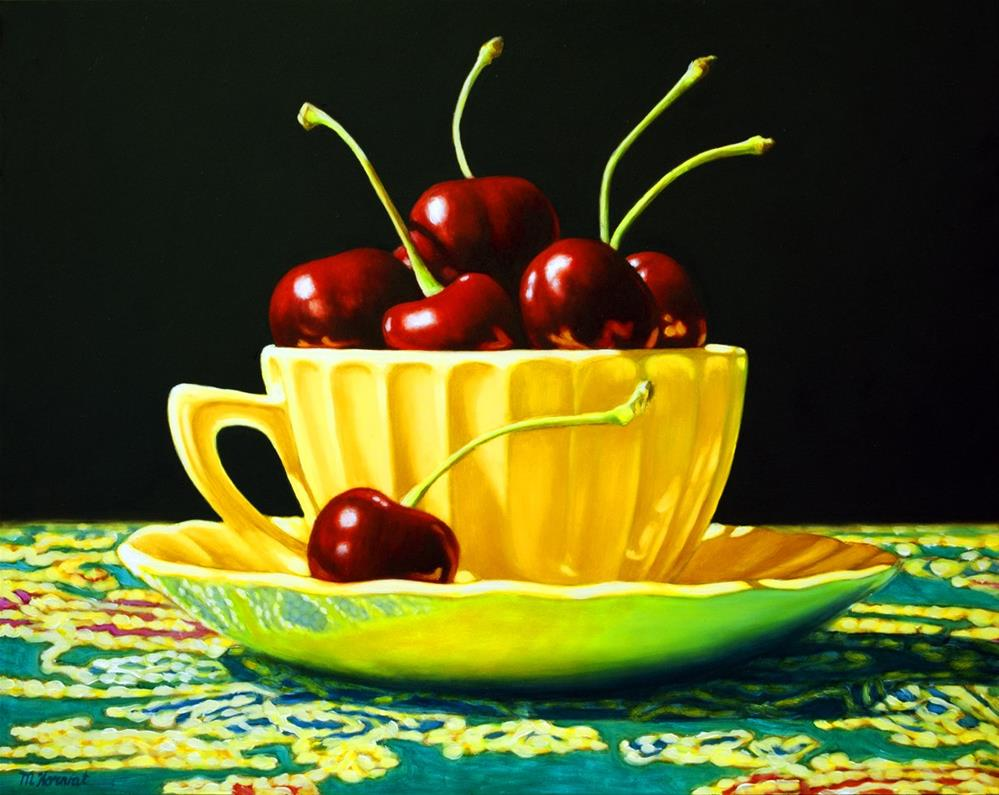 """Cup of Cherries"" original fine art by Margaret Horvat"