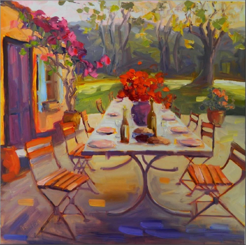 """Table of Blessings, 24x24 oil on wrapped hardwood, MAryanne Jacobsen art impressionism, al fresco"" original fine art by Maryanne Jacobsen"