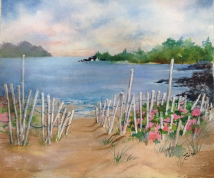 """Beach at Jamestown, RI"" original fine art by Sue Dion"