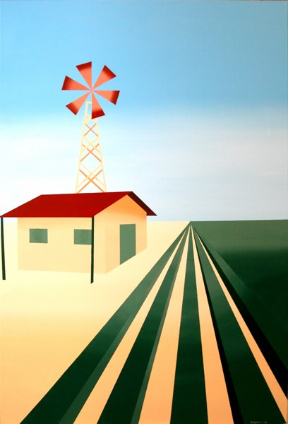 """Mark Webster Artist - Abstract Cubist Windmill Painting"" original fine art by Mark Webster"