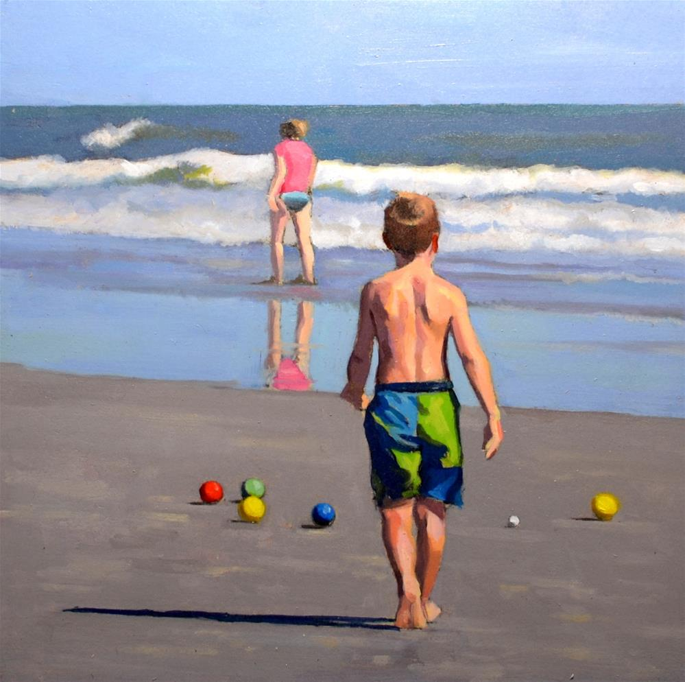 """Beach Bocce Ball"" original fine art by Brian Burt"