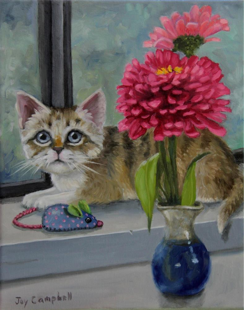 """Kitten with Zinnias"" original fine art by Joy Campbell"