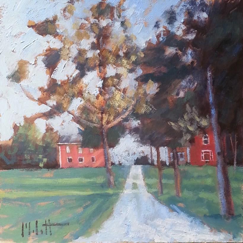 """Red Barn Brick Farmhouse Original Oil Paintings"" original fine art by Heidi Malott"