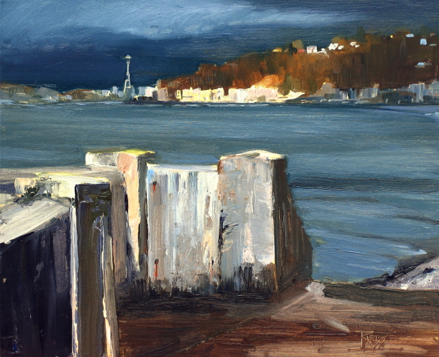 """Stormy Day on Alki  Seattle city scenes, cityscape oil painting."" original fine art by Robin Weiss"