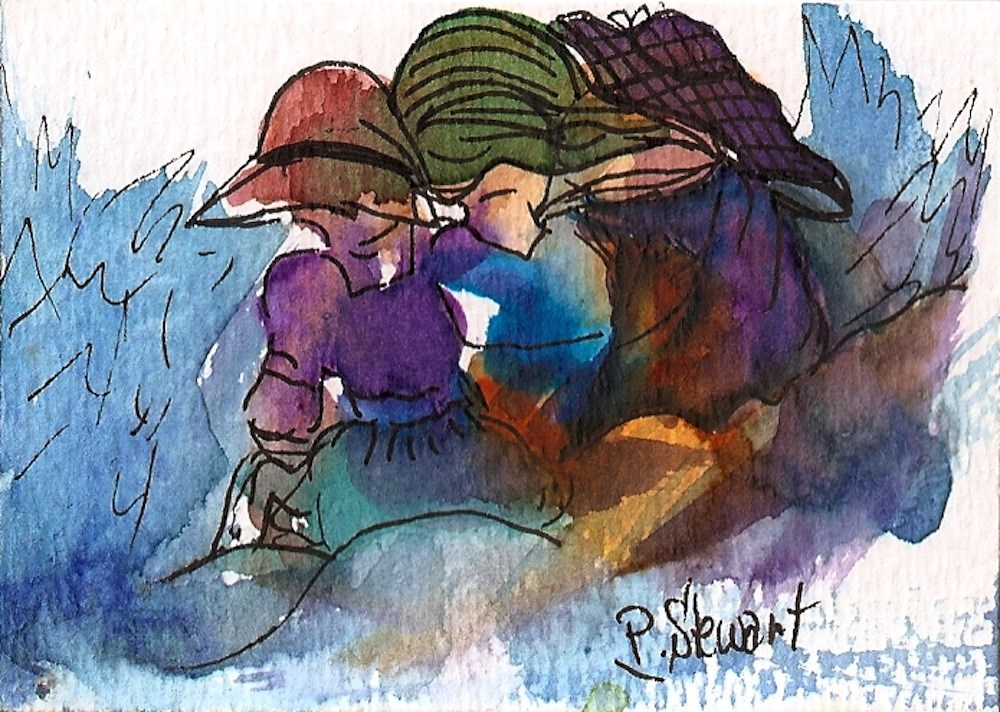 """""""ACEO A Cold Day at the Beach 3 Women huddled together, WC & Pen, OOAK"""" original fine art by Penny Lee StewArt"""