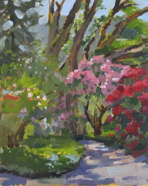 """In the Rhododendron Garden"" original fine art by Sarah Sedwick"