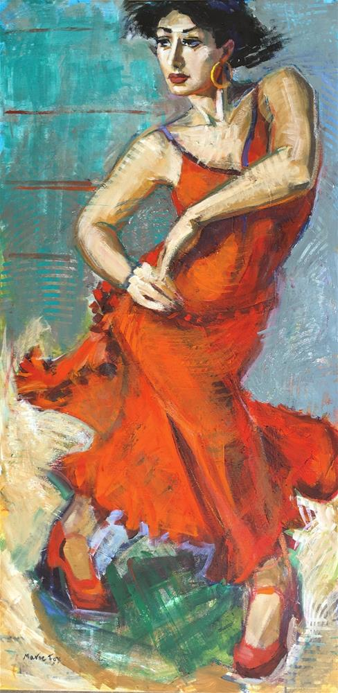 """Spanish Dancer, figurative woman dancing, red dress, contemporary figure painter, flamenco dance, fe"" original fine art by Marie Fox"