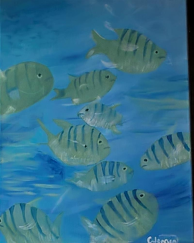"""A fish tale"" original fine art by Cindy Jensen"