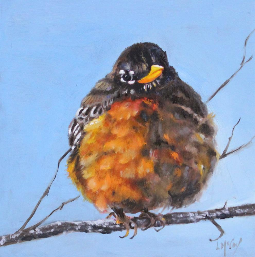 """Nippy Out Here! Robin Oil Painting"" original fine art by Linda McCoy"