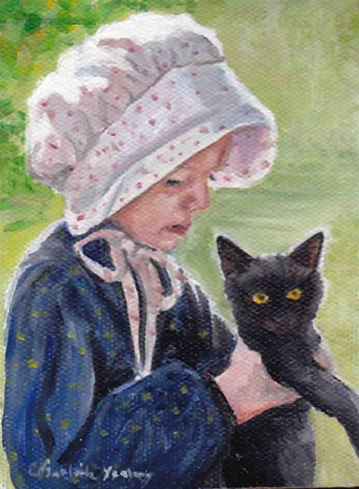 """Girl with cat"" original fine art by Charlotte Yealey"