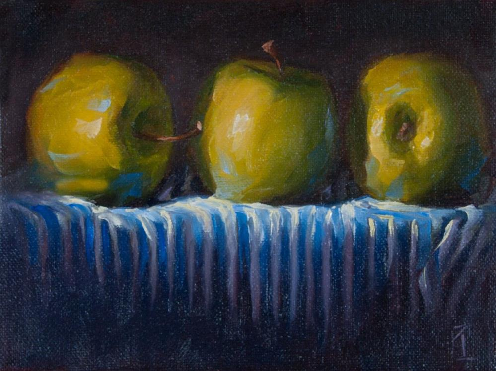 """Tablecloth Series Apples"" original fine art by Lori Twiggs"