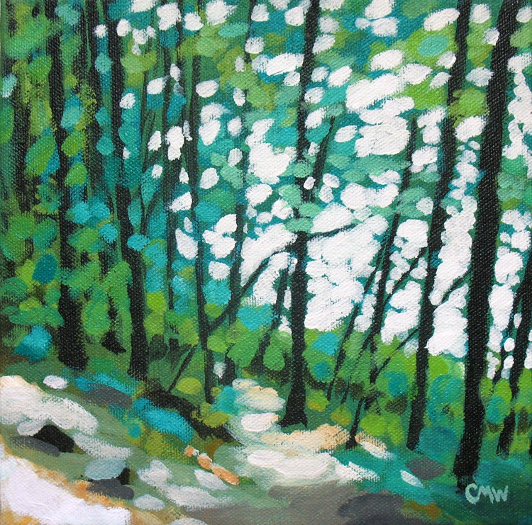 """Green Slope 01"" original fine art by Cindy Wentzell"