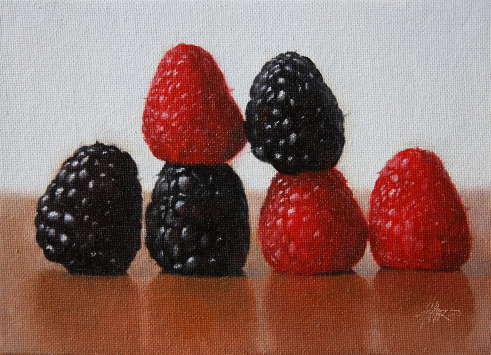 """Raspberries Aligned"" original fine art by Jonathan Aller"