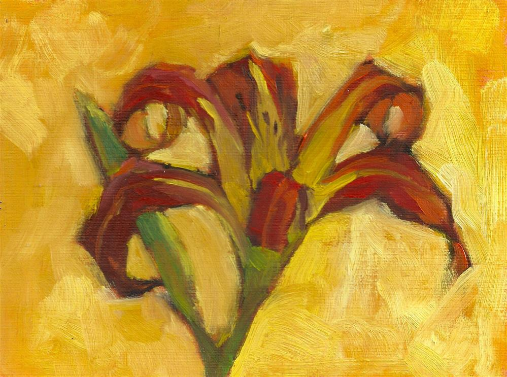 """Tiger Lily on Yellow Background"" original fine art by Marlene Lee"