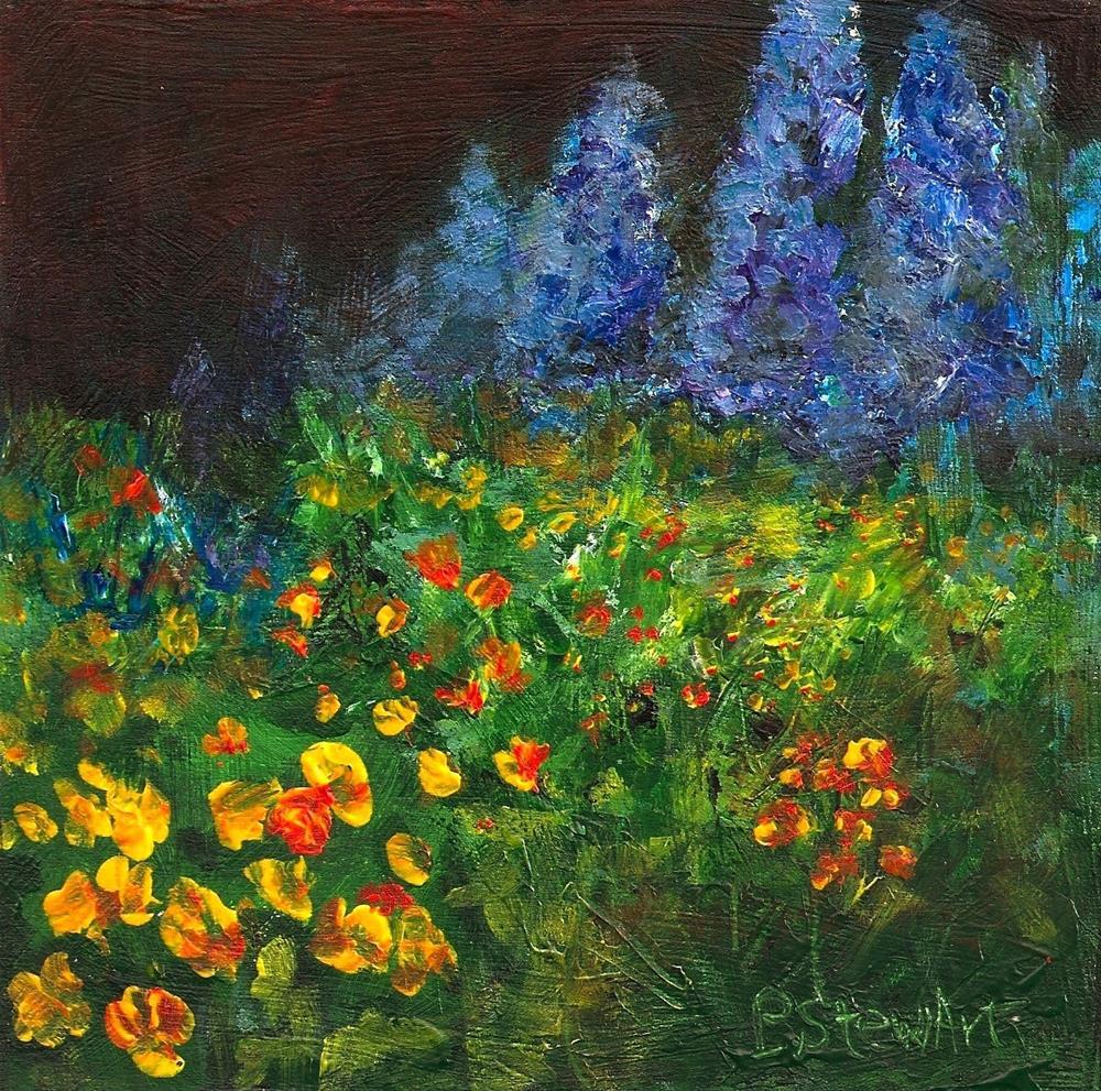 """6x6 Poppies and Delphiniums Floral Landscape Acrylic SFA Penny Lee StewArt"" original fine art by Penny Lee StewArt"