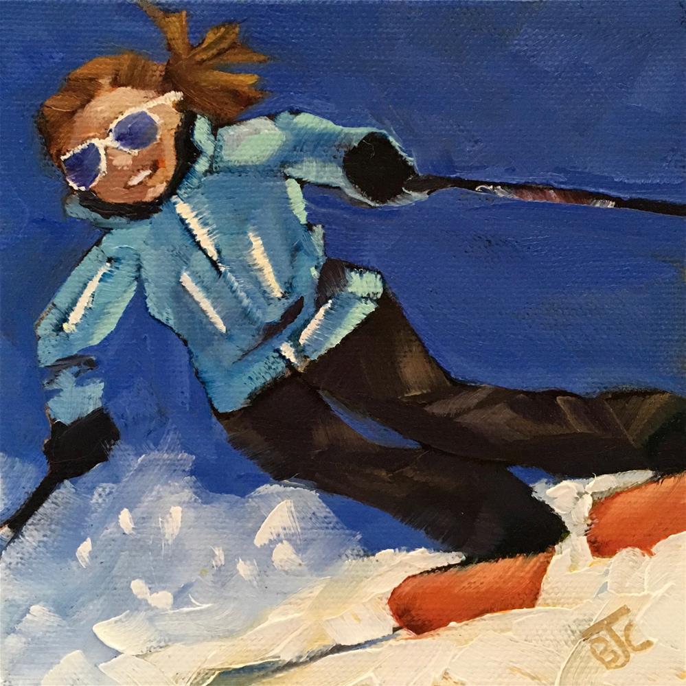 """""""Spring Skiing"""" original fine art by Bobbie Cook"""