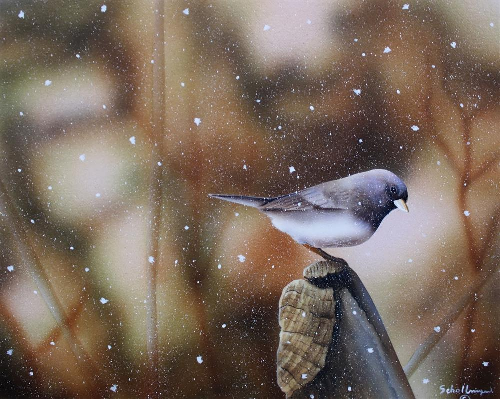 """Wintry Watch"" original fine art by Fred Schollmeyer"