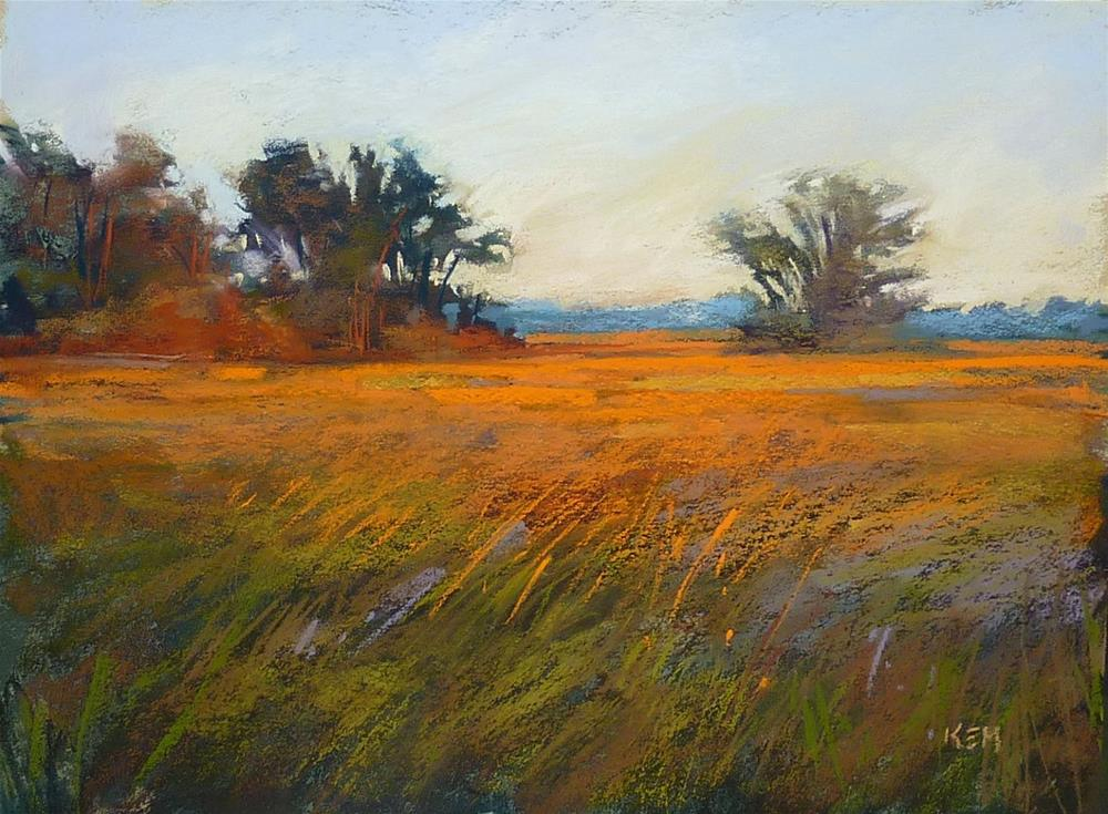 """Choosing the Sky Color in a Landscape Painting"" original fine art by Karen Margulis"