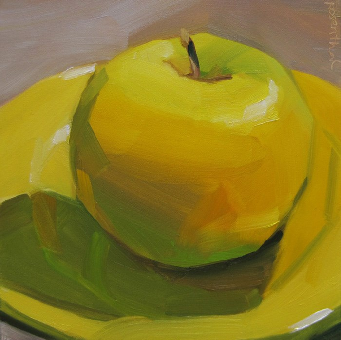 """Golden Delicious on Yellow Plate"" original fine art by Robin Rosenthal"