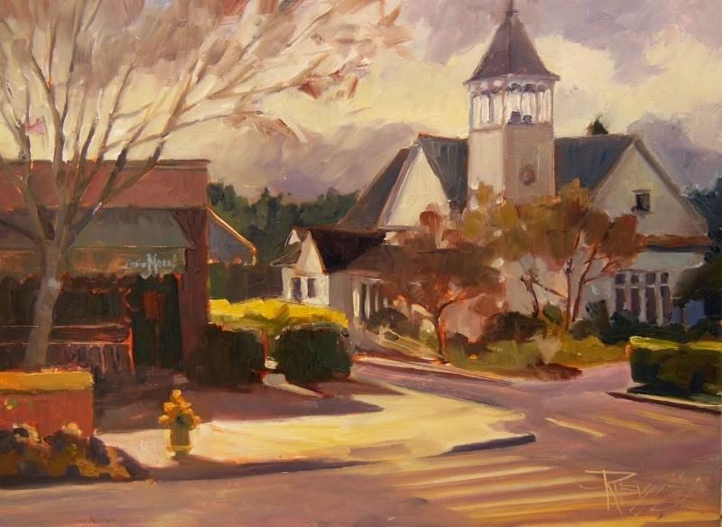"""Winslow Church  Bainbridge Island, plein air, urban landscape painting by Robin Weiss"" original fine art by Robin Weiss"