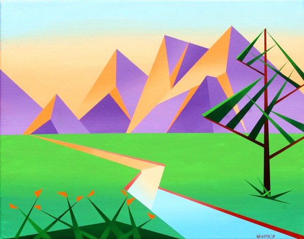 """Mark Adam Webster - Geometric Mountain River at Sunset with Flowers Acrylic Painting"" original fine art by Mark Webster"