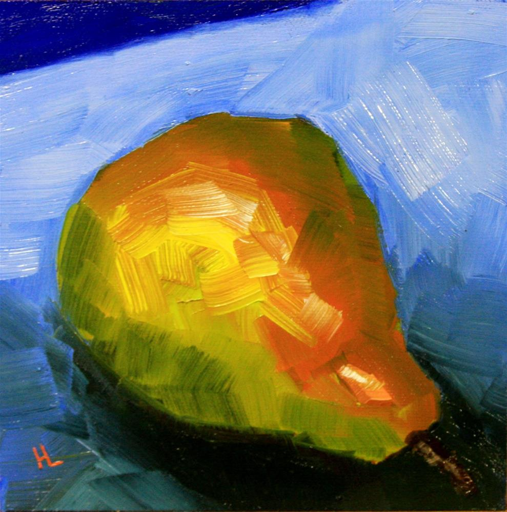 """Lazy Pear"" original fine art by Heather Lehmberg"