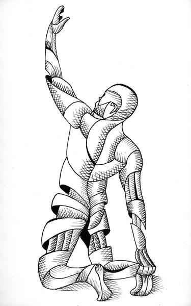 """Mark Webster - Joe 37.09 - Abstract Nude Geometric Figurative Ink Drawing"" original fine art by Mark Webster"